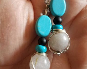 Beautiful Turquoise,  Black Onyx and White Quartz earrings
