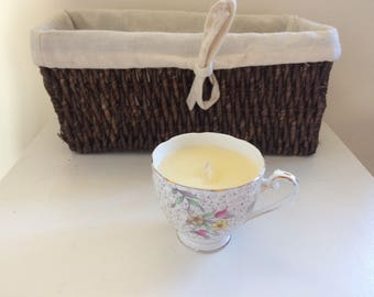 Vintage Candle - handmade, vanilla scented teacup candle
