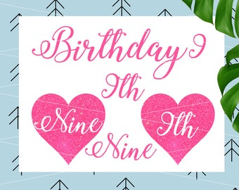 Birthday nine svg Birthday Svg nineht Birthday Svg 9th Birthday svg Birthday girl svg files for Cricut Silhouette Cut file cut file lfvs