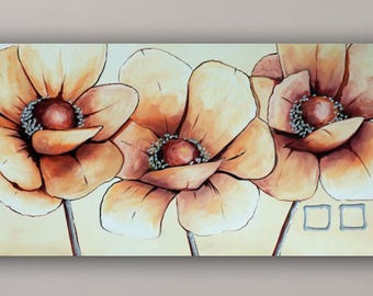 Acrylic painting, abstract poppies
