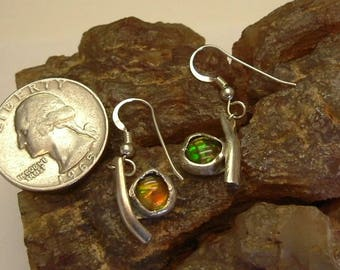 Bright Green and Yellow Utah Ammolite Fine Sterling Silver Jewelry Pebble Earrings 033G