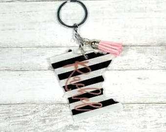 Minnesota Keychain//Minnesota State Keychain//Striped Keychain//Birthday Gift//Christmas Gift//Gift For Her//Personalized Keychain/Key chain