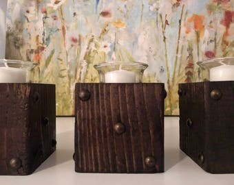 Set of Three Candle Holders, Wooden Candle Holders, Wooden Candle Stands, Candle Holder and Candles