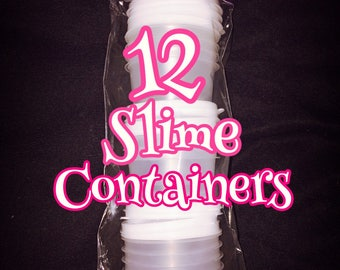 12 round containers with lids perfect to store your slime in!
