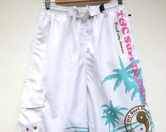 MEGA SALE T & C Surf Design Short Pant Hawaii Surfing Size L Beach boy Spell out Big Logo Sportwear
