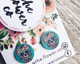 Earrings. Wood Earrings. Gifts for Her. Geometric Earrings. Pin Up Jewellery. Rockabilly Jewellery. Sugar Skulls. Day of the Dead.