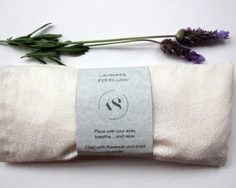 Eye Pillow - White Dot Print - Lavender and Flaxseed