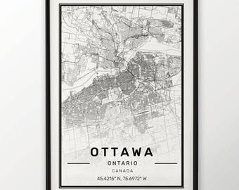 Ottawa City Map Print Modern Contemporary poster in sizes 50x70 fit for Ikea frame 19.5 x 27.5 All city available London New York Paris