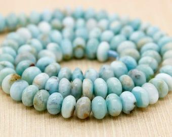 Natural Larimar Rondelle Gemstone Beads (3mm x 5mm, 4mm x 6mm)