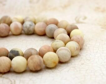 Matte Orange Moonstone Round Gemstone Beads (6mm 8mm 10mm)