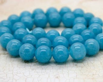 Angelite Smooth Round Gemstone Beads (Full Strand)