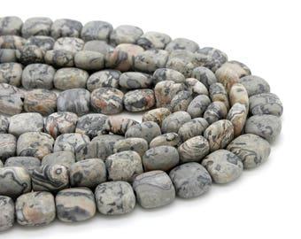 Matte Picture Jasper Flat Square Natural Gemstone 10mm x 10mm Beads
