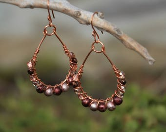 Copper Wire Earrings, Copper N Crystal Earrings