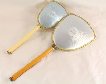 Vintage Vanity Set, Yellow Gold Handle Vanity Mirror and brush set,Gifts for her, Birthday Gifts, Bridal shower gift, 1950's 1960's