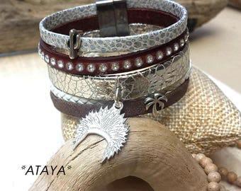 Chocolate & white collection tone leather cuff ATAYA