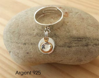 Ring adjustable 925 sterling silver pendants