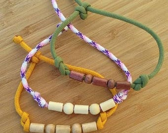 Paracord and Wood Bead Infinity Bracelet #2