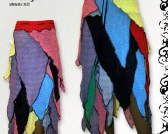 original skirt, skirt handmade cotton, peaks skirt, skirt Elf, multi-colored skirt, straight skirt, Galician handicraft, unique apparel skirt