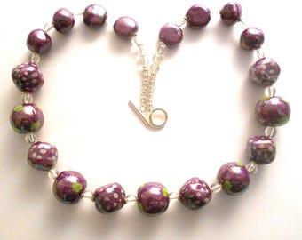 Kazuri ceramic fair trade necklace 20 inches in pearlised purple