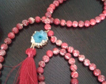 Stunning, unique necklace with semi precious beads, various vibrant colors available, tassel attached, crystal connector