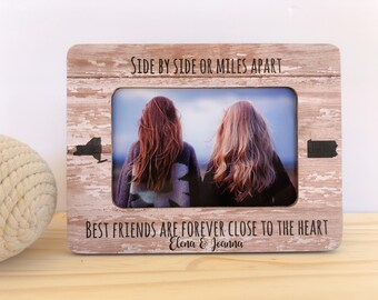 Side By Side or Miles Apart Friendship Frame Long Distance Friendship States Frame Personalized Picture Frame