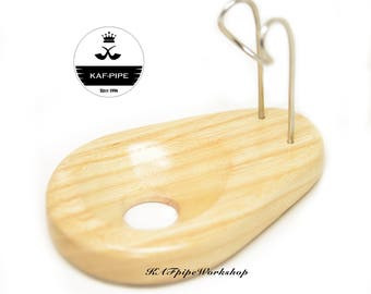 """Tobacco pipe Stand """"White Drop"""" for 1 smoking pipe Single pipe Rack Pipe rest Handmade wooden pipe Holder for one pipe"""