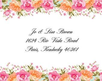 Floral Top & Bottom Border Address Labels