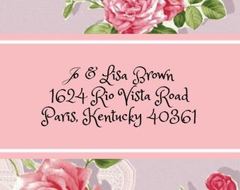 Pink Roses with Lace Address Labels