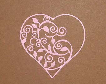 "4 Pink Intricate Flourish Heart Die Cuts 3 1/8"" X 3 1/8"" Cardstock Paper Hearts, Embellishments, Scrapbooking, Card Making"