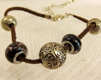 Lovely Cord And Gold tone metal Charm Bracelet with Charms & Stoppers #r619