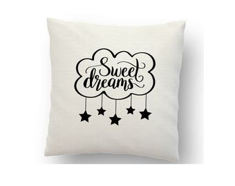 Sweet Dreams cushion cover, printed using sublimation ink and a heat press