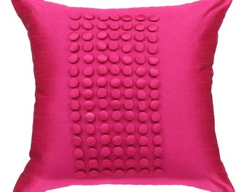 Hot Pink Pillow Cover, Minimalist Pillow, Fuchsia Pink Throw Pillow Cover, Button Panel