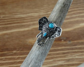Elephant with Turquoise Ring