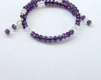 Purple Bead Wrap Bracelet
