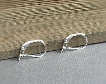 Pearl Ear Hooks, Pearl Leverback, Sterling Ear Wires, Pearl Findings, 10.3x15.4mm, EWRS027