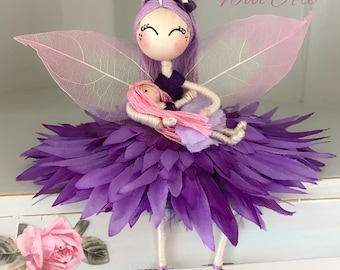 Flower fairy doll, Princess fairy ornament, miniature fairy doll, fairy cake topper, fairy gift.