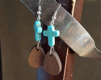 Turquoise cross earrings, wood and turquoise, dangle earrings, hypoallergenic, boho jewelry