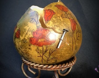 Gourd Art / Rustic / Rugged / Poppies / Golden State / NorCal / Sierra Foothills / Mottled / Carved / Burned / Rusty / California Poppies