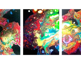 Abstract Paint Pour Triptych