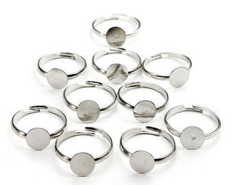 Adjustable Flat Ring Blanks, 8mm, Silver Plated, 10 Pieces!