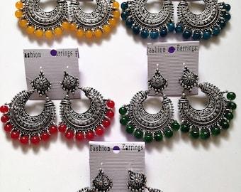 Silver Jhumka Earring Indian Ethnic Banjara Earring,bollywood style Chandbalis Jhumka,Fashion Jhumka,Oxidized Silver Jhumka Earring