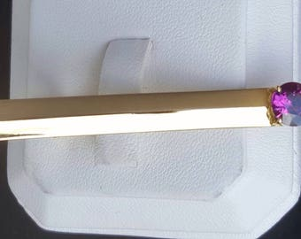 18K Gold Tie Clip with 1.03 Carat Natural  Ceylon Sapphire with certificate