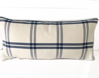 Plaid White and Blue lumbar pillow with insert