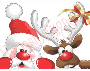 Santa Claus and his Reindeer. Christmas and Holiday window Static Cling decor. OSD-SCFC-CSR