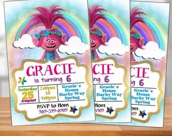 Trolls Birthday Party, Trolls Invitation, Trolls Birthday Invitation, Fur, Trolls Cartoon, Trols, Personalized, Printable, Digital File