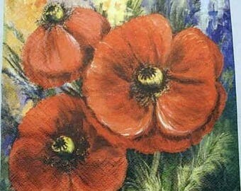 Red poppies table napkin
