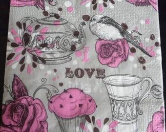 "Napkin ""Love"" on a grey background"