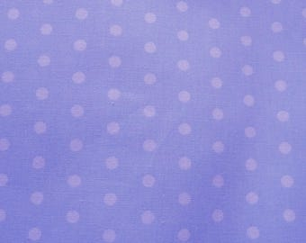Blue polka dots cotton fabric coupon