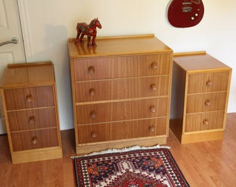 Retro 1950/60s Meredew Blonde Chest Of Drawers & Two Cabinets. Excellent Mid Century Oak Bedroom Set.