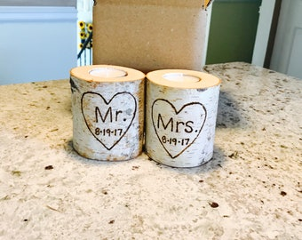 Birch log engraved candles-perfect for rustic weddings and decor! (Custom/Personalized)